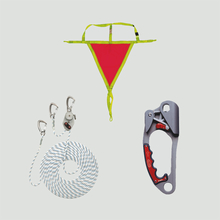 Descender devices, climbing devices and rescue devices